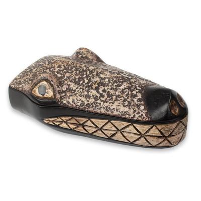 Hand Carved Wood Crocodile Head Decorative Box