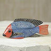 Wood box, 'Blue Ga Fish' - Ghana Artisan Crafted Fish Theme Decorative Wood Box