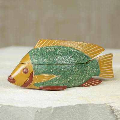 Wood box, 'Green Ga Fish' - Hand Carved Fish Theme Decorative Wood Box from Ghana
