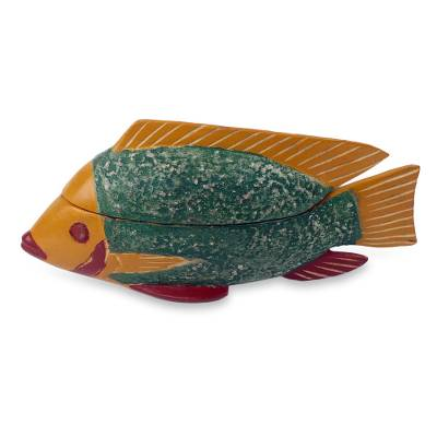 Hand Carved Fish Theme Decorative Wood Box from Ghana