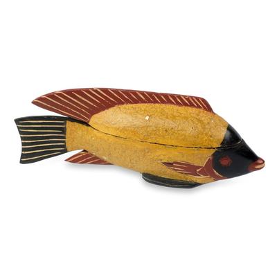 Ghana Fish Theme Artisan Crafted Decorative Wood Box