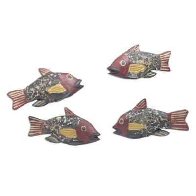 Ghana Artisan Crafted Fish Theme Ornaments (Set of 4)