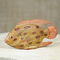 Wood sculpture, 'Ghanaian Redfish' - Hand Carved and Painted African Wood Fish Sculpture