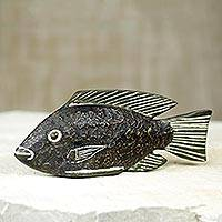 Wood sculpture, 'Black Tilapia' - African Black Fish Sculpture Hand Carved of Sese Wood