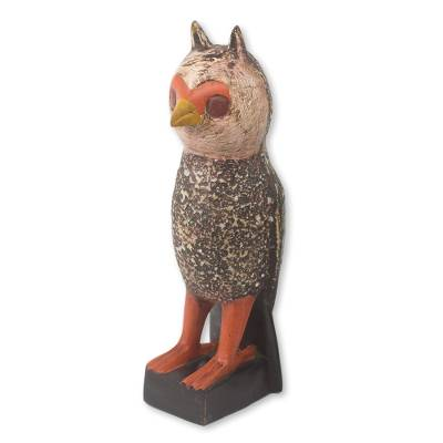 Wood sculpture, 'Owl Courier' - African Hand Carved Rustic Owl Wood Sculpture
