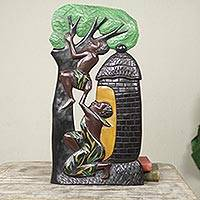 Wood wall sculpture, 'Good Brothers' - Hand Painted Low Relief African Wall Sculpture