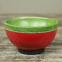 Wood centerpiece, 'Colorful Makola' - Decorative Centerpiece Carved from Wood in Red and Green