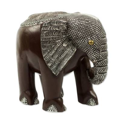 Wood sculpture, 'African Bush Elephant' - Handcrafted Wood Elephant Sculpture with aluminium and Brass