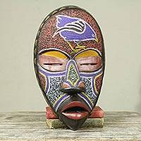 African beaded wood mask, 'Dan Peace' - Colorful African Beaded Wood Decorative Wall Mask