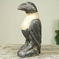 Wood sculpture, 'Crow' - Rustic Hand Carved Black and White Wood Crow Sculpture