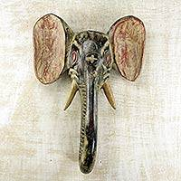 African wood mask, 'Elephant I' - African Elephant Mask Rustic Wall Decor Hand Carved in Ghana