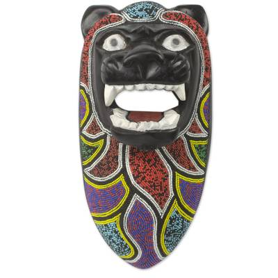 Lion Theme Beaded Wood Authentic African Wall Mask