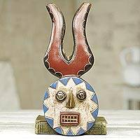 African wood mask, 'Lucky' - Handcrafted Brass Inlay Horned African Mask