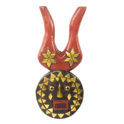 African wood mask, 'I Am Luck' - Brass Inlay Hand Carved Authentic African Horned Mask