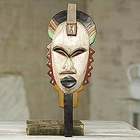 African wood mask, 'Afya' - African Wall Mask of Swahili Healer Original Design