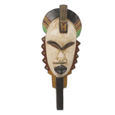 African wood mask, 'Afya' - African Wall Mask of Swahili Healer Original Design