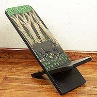 Wood lazy chair, 'African Jungle' - Artisan Crafted Wildlife Theme West African Wood Lazy Chair