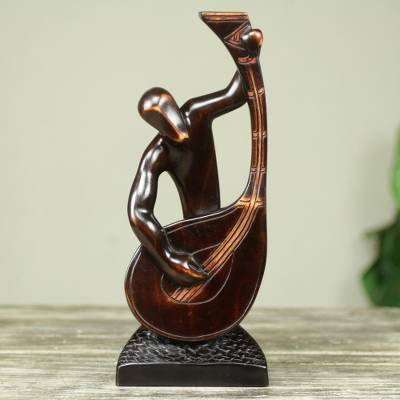 Ebony wood sculpture, 'Banjo Player' - Hand Carved African Musician Sculpture in Ebony Wood