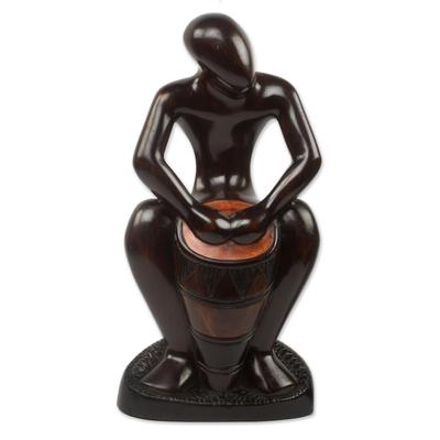 Ebony wood sculpture, 'Kpanlogo Drummer' - Original Ebony Wood Sculpture of African Drummer