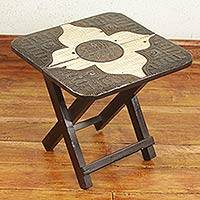 Wood folding table, 'Adom' - Embossed Aluminum and Wood Folding Accent Table