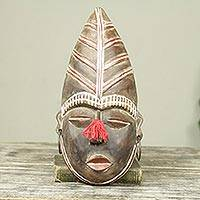 African wood mask, 'Nyaaga' - Fair Trade African Wall Mask Carved and Painted by Hand