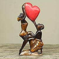 Wood sculpture, 'The Love Struggle' - Unique African Wood Sculpture of Man and Woman with Heart