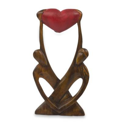 Wood sculpture, 'United Lovers' - Hand Carved African Abstract Wood Sculpture of Lovers
