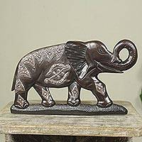 Wood wall sculpture, 'Adinkra Elephant' - Embossed Metal and Wood Wall Sculpture with Elephant Motif