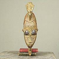 African wood mask, 'Ahodwo' - African Wood and Metal Mask with Bird Motif and Pipe