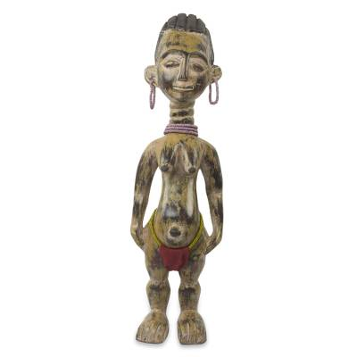 African wood sculpture, 'Fante Fertility Doll II' - Rustic Handmade Wood Fertility Doll with Beaded Accents