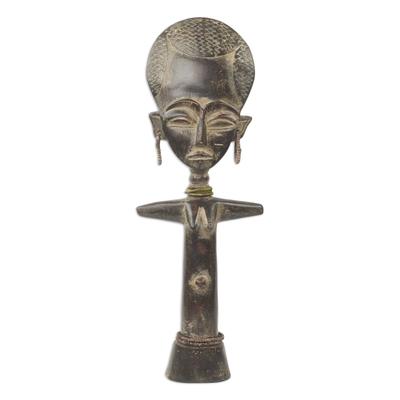 African wood sculpture, 'Ashanti Fertility Doll V' - African Artisan Crafted Wood Fertility Doll from Ghana