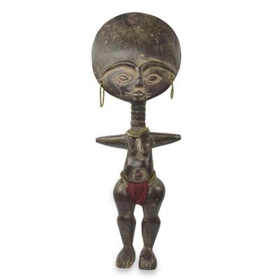 African wood sculpture, 'Fante Fertility Doll III' - Fair Trade African Hand Carved Wood Fertility Doll Figurine