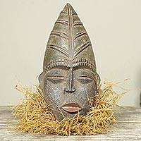 African wood mask, 'Getor' - Unique Wood and Raffia Bearded African Mask