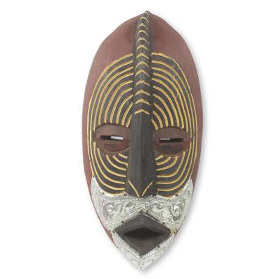 African wood mask, 'Dzigbodinyo' - Embossed Aluminum and Wood Handmade African Mask