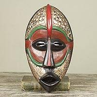 African wood mask, 'Peaceful Mind' - Brass Embellished Artisan Crafted African Mask from Ghana