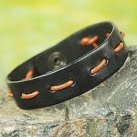Men's leather bracelet, 'Run Along in Black and Tan'