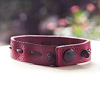 Men's leather bracelet, 'Run Along in Red and Brown'