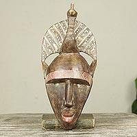 African wood mask, 'Peacock Crown'