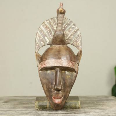 African wood mask, 'Peacock Crown' - Artisan Crafted Bird Theme Original African Mask