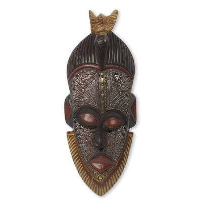 African wood mask, 'Abrante Pa' - Embossed Aluminum and Wood African Mask with Brass Accents