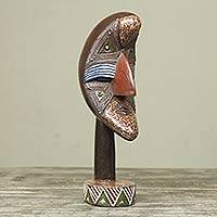 African wood mask, 'Akpliga' - Crescent Shaped Wood Mask on Stand from Ghana