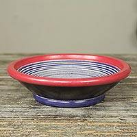 Decorative wood bowl,  'Asanka II' - Handcrafted African Decorative Wood Bowl in Blue and Red