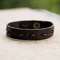 Men's leather bracelet, 'Run Along in Brown' - Men's Casual Brown Leather Bracelet with Brass Accents