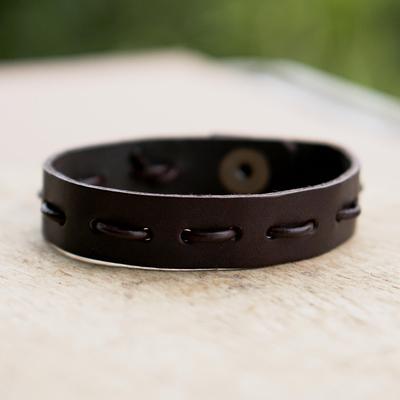 Men's leather bracelet, 'Run Along in Brown' - Men's Casual Brown Leather Bracelet with Brass Accents
