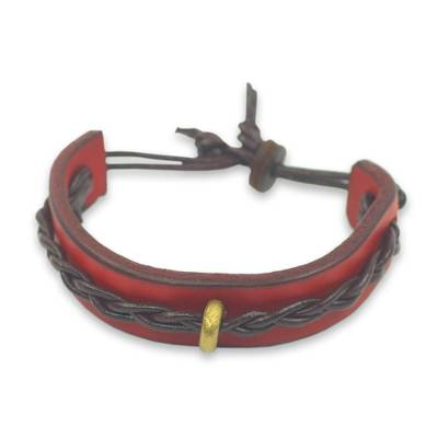 Handmade Leather Bracelet for Men in Red and Brown