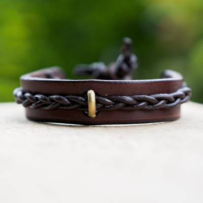Men's leather bracelet, 'Twist and Shout in Brown' - Artisan Crafted Men's Brown Leather and Brass Bracelet