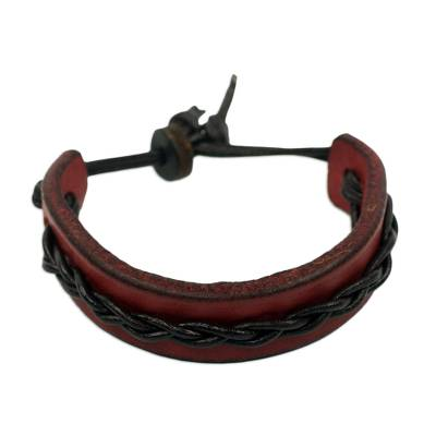 African Red and Brown Braided Wristband Bracelet for Men