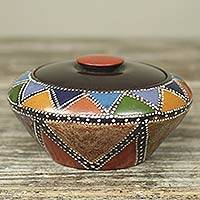 Wood decorative box, 'Akan Colors'