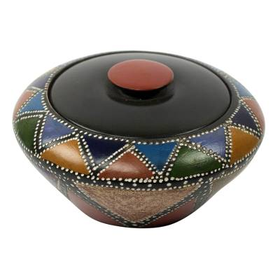 Wood decorative box, 'Akan Colors' - Multi Color Akan Trinket Decorative Wood Box Crafted by Hand