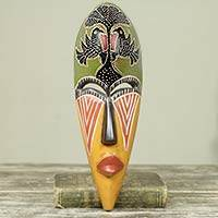 African wood mask, 'Eagle' - African Artisan Designed Wood Wall Mask with Eagle Motif